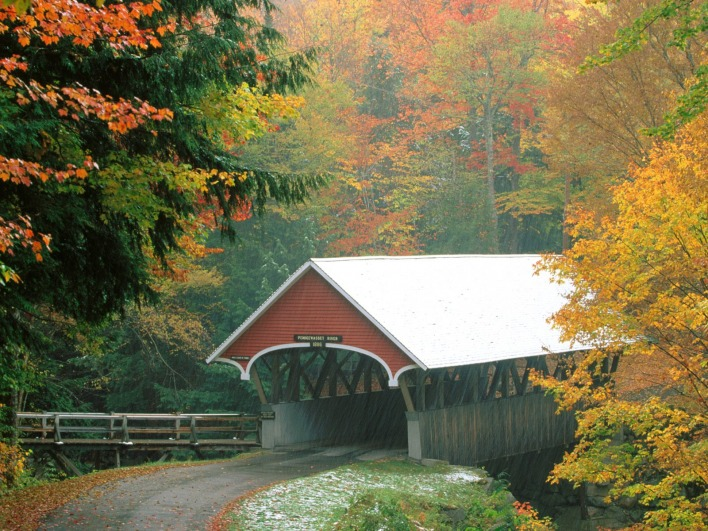 Flume Covered Bridge in Autumn, Franconia Notch State Park, New Hampshire