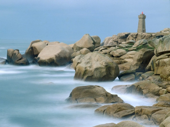 Motion of the Sea, Ploumanach Rocks and Lighthouse, Bretagne, France