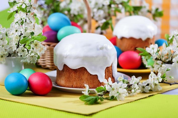 еда пасха праздник кулич яйца цветы