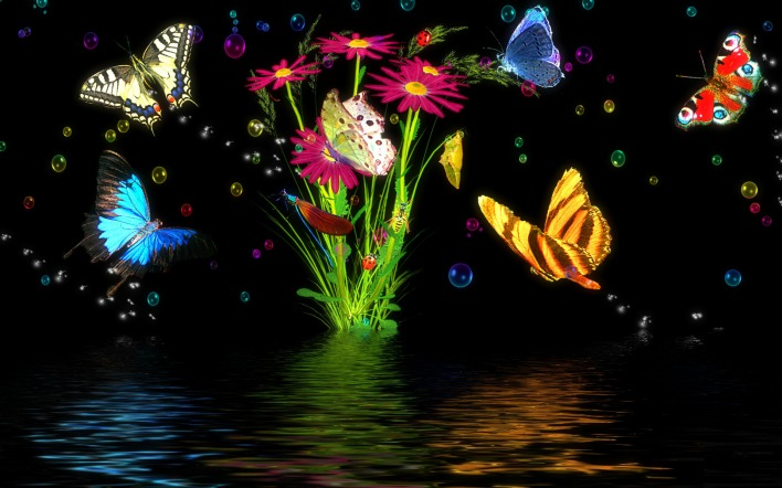 графика бабочки цветы вода graphics butterfly flowers water