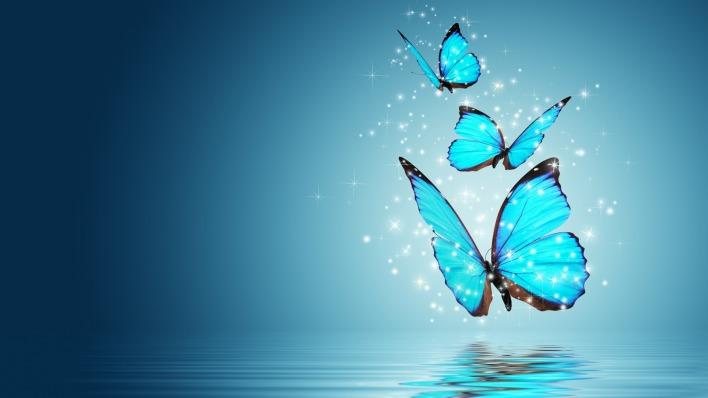 Бабочки частицы голубые