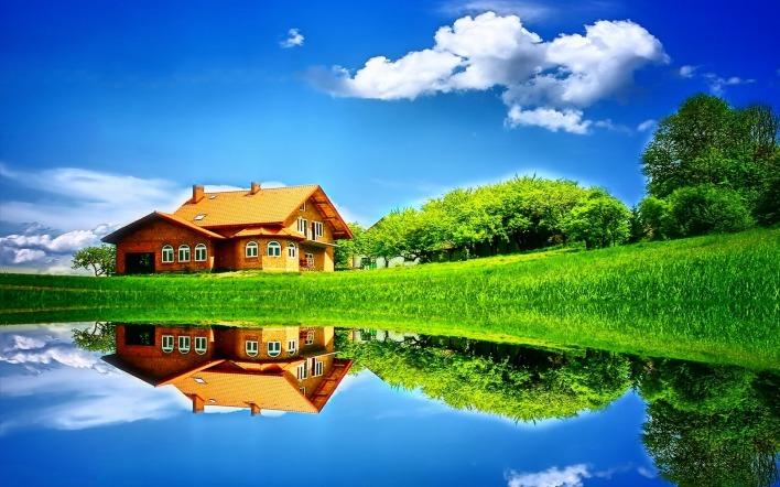 Картинка яркие красики домика у озера