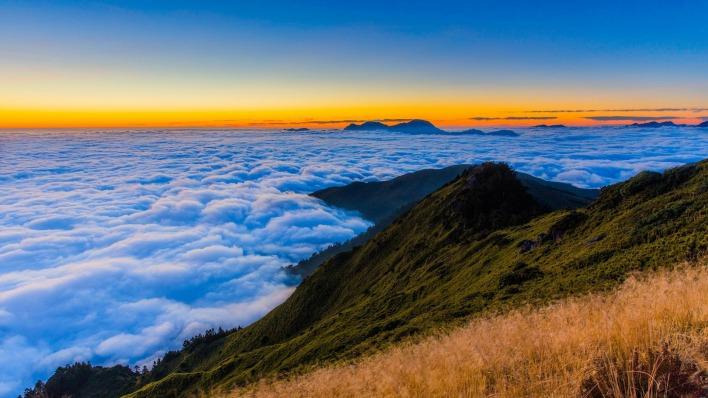 природа облака высота горы небо трава