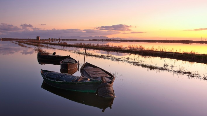 природа лодка река горизонт nature boat river horizon