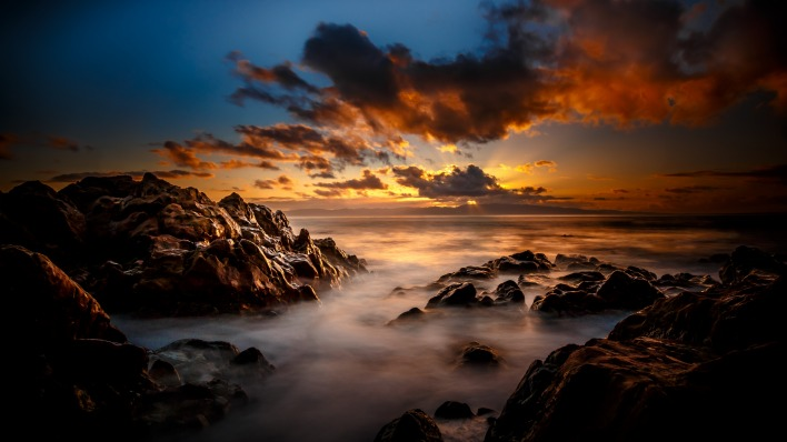 природа закат небо облака море скалы nature sunset the sky clouds sea rock