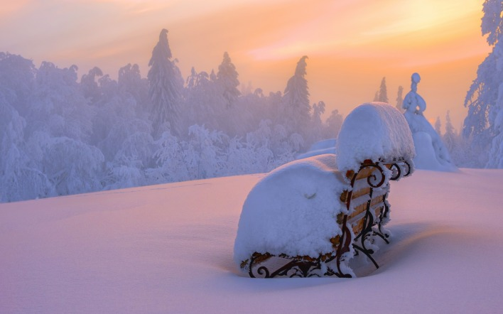 снег закат зима snow sunset winter