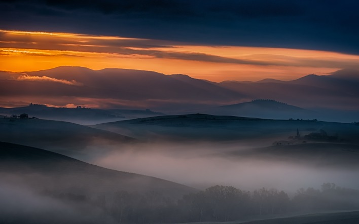 природа горизонт закат небо облака туман nature horizon sunset the sky clouds fog