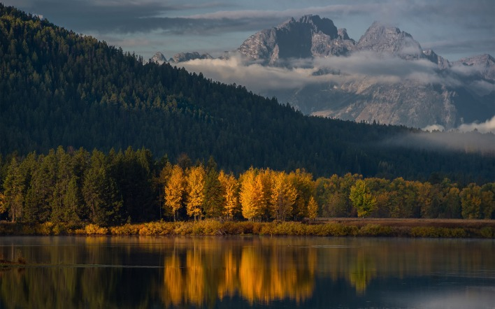 озеро гора осень the lake mountain autumn
