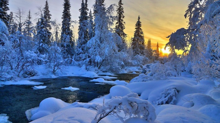 зима закат снег речка winter sunset snow the river