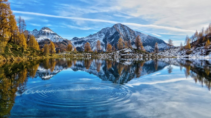 рябь озеро горы снег осень weather the lake mountains snow autumn