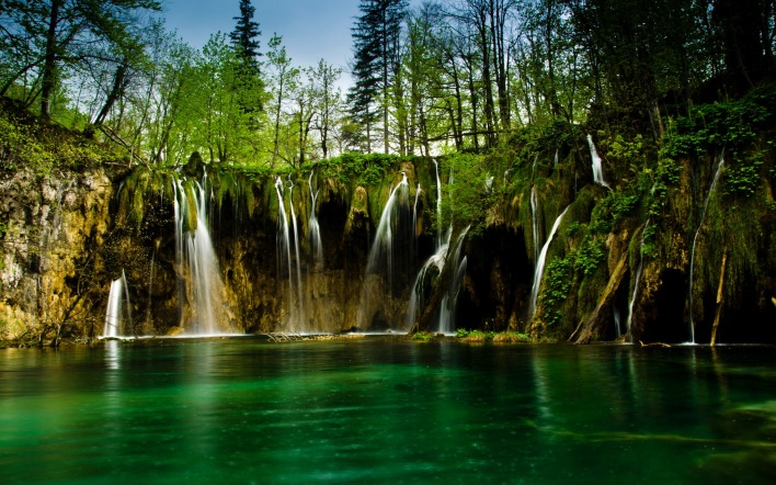 водопад лес waterfall forest