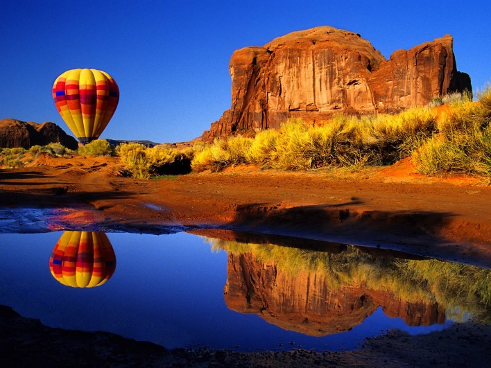 Hot Air Balloon Reflected, Arizona