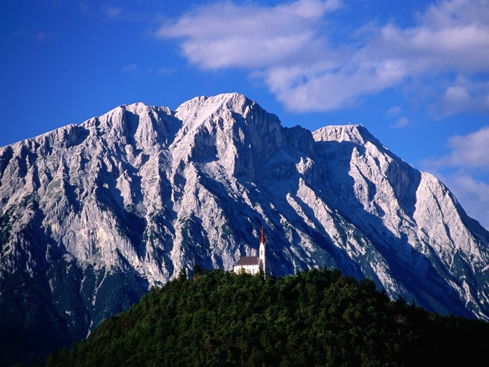 Hillside Church and Mount Griesspitzen, Tirol, Austria