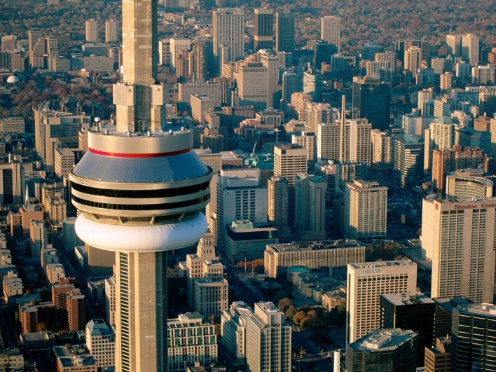 Aerial View of the CN Tower, Toronto, Canada