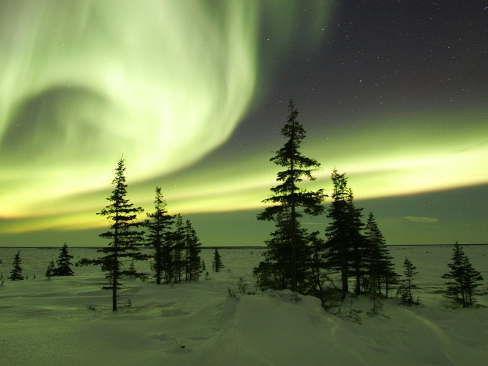 The Northern Lights in Winter, Churchill, Manitoba, Canada
