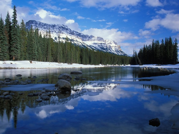 Bow River and Castle Mountain, Alberta, Canada