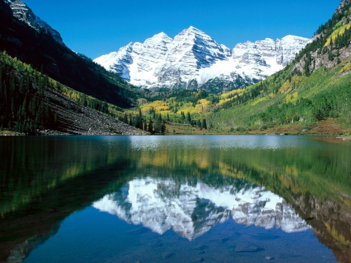 Snow Capped Maroon Bells, White River National Forest, Colorado
