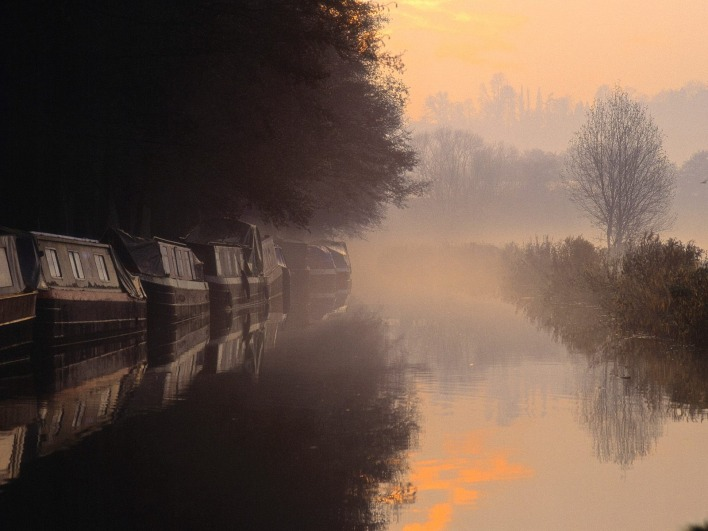 Morning Mist at Sunrise, Godalming, Surrey, England