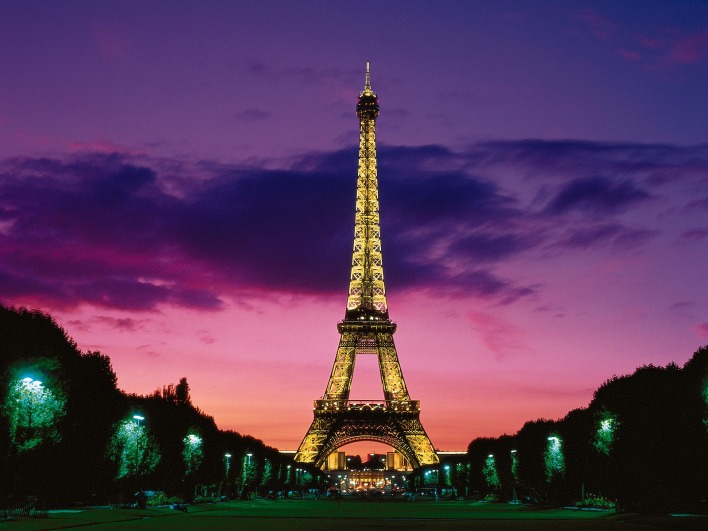 _Eiffel Tower at Night, Paris, France