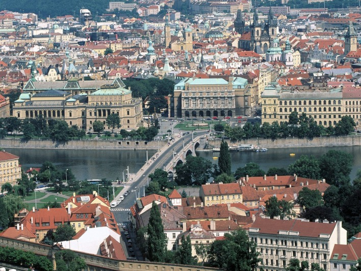 Manesu Bridge Over the Vltava River, Prague, Czech Republic