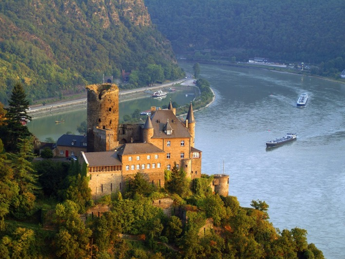 Burg Katz Above St Goarshausen and the Rhine River, Germany