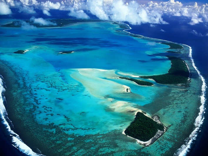Aerial View of Aitutaki Island, Cook Islands