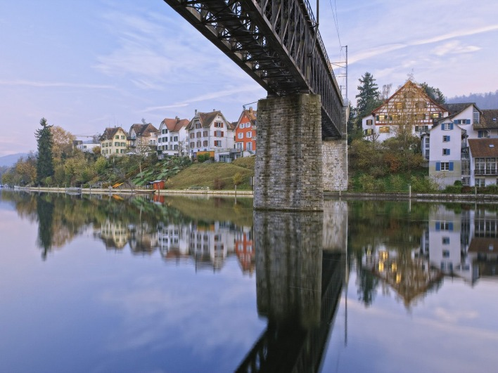 Colorful Homes Reflecting on Rhine River, Schaffhausen, Switzerland
