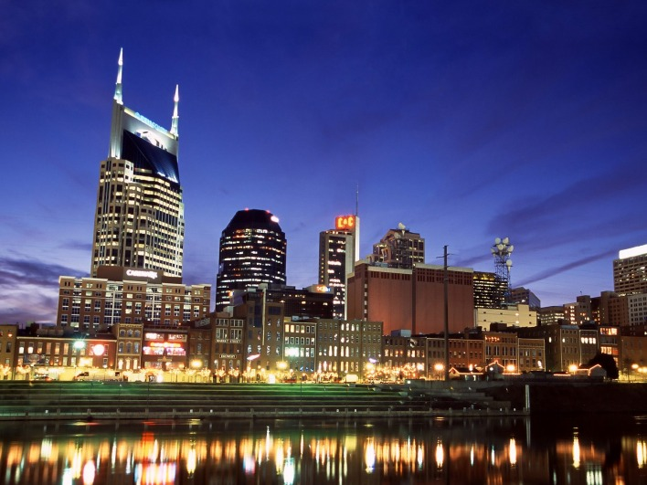 Downtown Nashville at Twilight, Tennessee