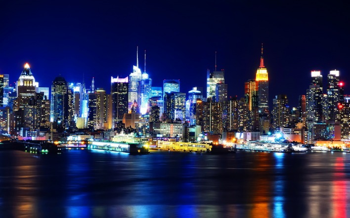 страны архитектура ночь свет Нью-Йорк США country architecture night light New York USA