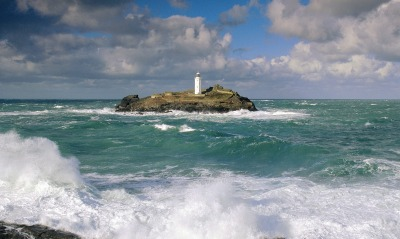 Godrevy Lighthouse and Rough Seas, Cornwall, England
