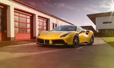 желтый автомобиль спортивный ferrari 488 gtb