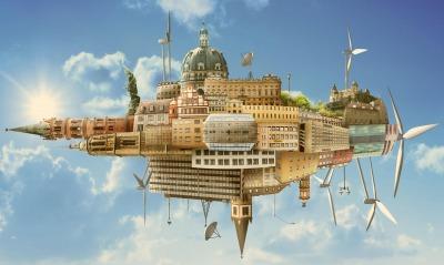 иллюзия небосвод городок корабль