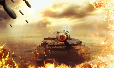 World of Tanks огонь дым