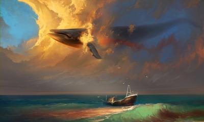 графика рисунок кит корабль graphics figure Keith ship