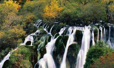 Waterfall Cascading in Nine-Village Valley, Sichuan, China