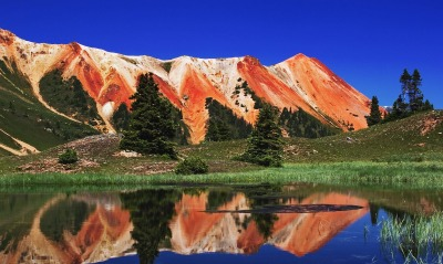 Red Mountain Reflected in Alpine Tarn in Gary Cooper Gulch, Ouray, Colorado