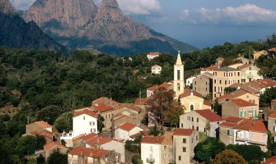 View of Evisa, Corsica Island, France