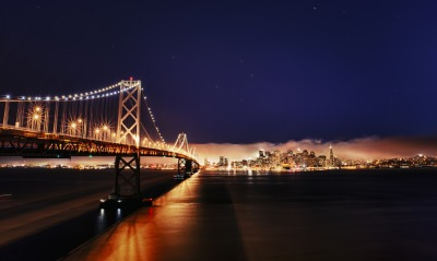 USА мост California пролив город огни San Francisco beesting bridge река